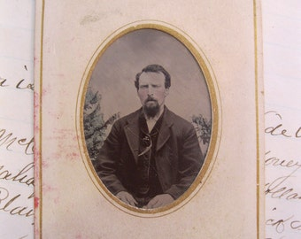 antique tintype photo in embossed paper frame - circa 1870, civil war era, MAN - tt130
