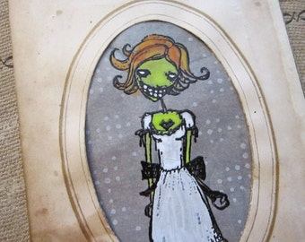 handmade card - Happy Birthday you FREAK - goth girl in antique CDV frame - hand painted