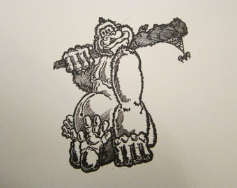 rubber stamp - GORILLA with club - monkey, ape