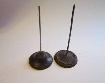 2 vintage receipt spikes - cast metal bases - retro, office supplies, note holder