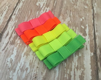 Neon set Girls Hair Clips, Solid or Print Hair Clips, You Choose from 56 solid Colors, Tuxedo Bows No Slip, Neon Babies Toddler Girls W