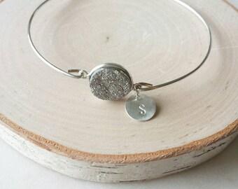 Personalized druzy bangle, modern pretty jewelry