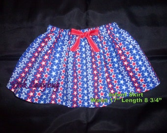 Red and White and Blue Stars Infant Skirt July 4th Skirt Fourth of July Skirt Patriotic Skirt in Size 6 Months Ready to Ship