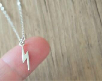 Tiny Lightning Bolt Sterling Silver Charm Necklace. Lightning Bolt Charm Necklace.