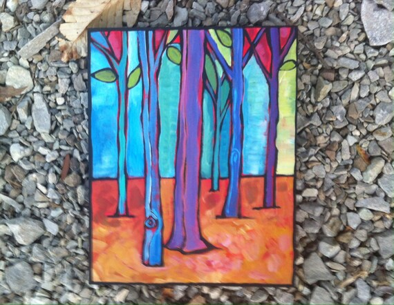 Indiana Woods Original Acrylic Painting on Wood Canvas Home Decor