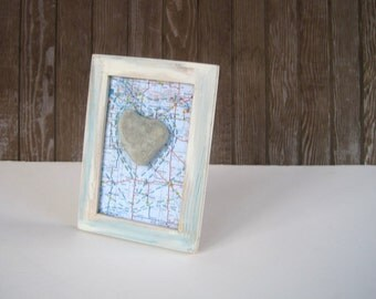 Mixed Media Collage- Altered Map Art - Saskatchewan Map with Heart Stone -