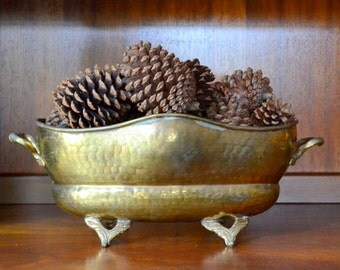 vintage brass planter dish / metal planter / boho home / serving dish / rustic home decor