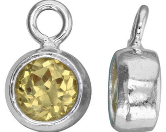 November Bezel Birthstone Charm, 5mm Citrine CZ, Sterling Silver -  Bezels