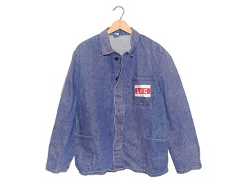 "Vintage European Blue Denim Button Up ""LHG"" Weathered Chore Coat - Large"
