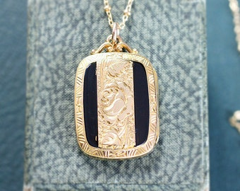 Antique Gold Filled Locket Necklace, Rare Book Shaped Pendant with Black Enamel and Fancy Filigree Top - Elaborate Aesthetic