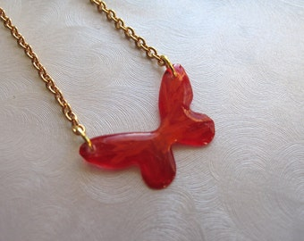 Fire Butterfly Off Center Necklace