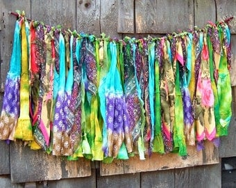 Gypsy Bohemian Boho Hippie Banner, Garland, Tatters, Tie-dye Skirt and Scarf Strips 20 Inches Long