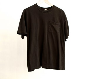 vintage POCKET faded sheer cozy BLACK t-shirt