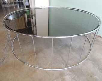 CONTEMPORARY Round Chrome Coffee Table with Smoked Glass Top (Los Angeles)