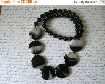 20% OFF ON SALE Black and White Agate and Onyx Hand Knotted Necklace, Gemstone Necklace