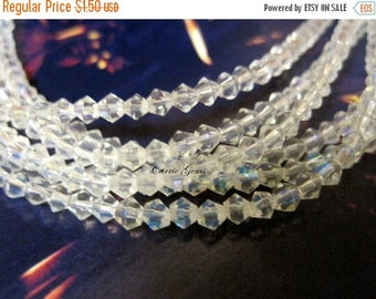 """20% OFF ON SALE 8"""" long (52 pcs) White Glass Beads 3mm Ab Bicone Shape"""