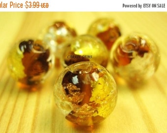 20% OFF ON SALE Silver Foil Lampwork Glass Gold Brown 12mm Round Beads