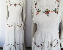 Vtg.70s Cream Ecru Lace Embroidered Pinafore Maxi Dress by Mr.K..Small.Waist 26.