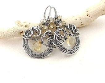 Wire wrapped earring, yellow citrine earring, dangle gemstone earring, sterling silver jewely