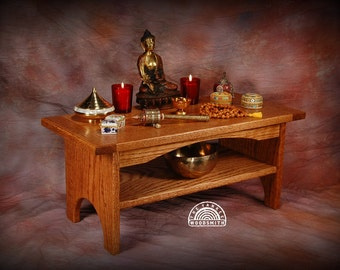 Oak floor style meditation altar with a shelf  shrine Puja table  Walnut tint