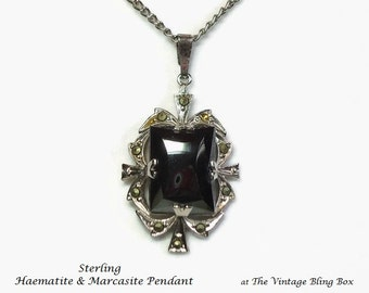 Retro 40s Sterling Haematite & Marcasite Pendant with Prong Set Center Stone and Pave Set Crystals - Vintage 40's Marked Costume Jewelry