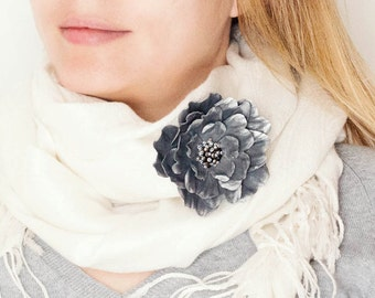 Grey leather flower brooch