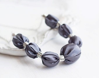 Grey fabric bead necklace fashion statement textile necklace