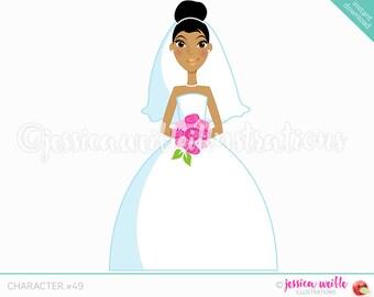 Dark Forward Facing Bride Character Illustration, Wedding Bride, Bridal Illustration, Cartoon Bride, Pink Flowers, Weddings C049