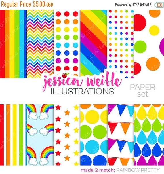 SALE Rainbow Pretty Cute Digital Papers for Commercial or Personal Use, Rainbow Patterns, Rainbow Backgrounds