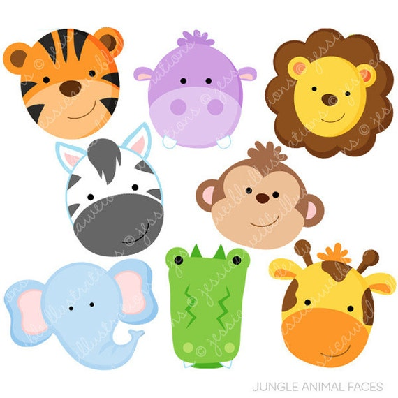 jungle animal faces cute digital clipart commercial use ok rh catchmyparty com jungle animal clipart free jungle animal clipart