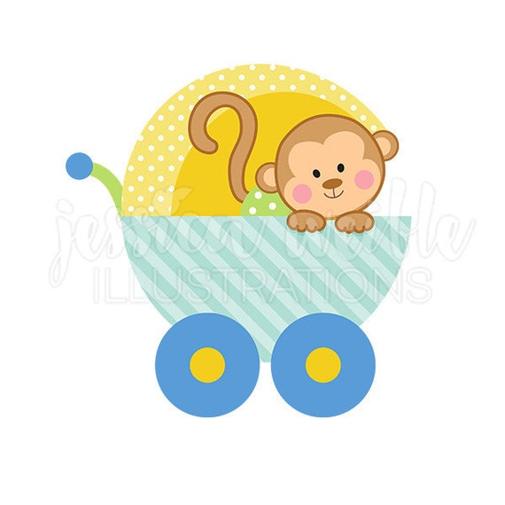baby boy monkey carriage cute digital clipart cute baby monkey clip rh catchmyparty com baby girl monkey clip art baby monkey cartoon clip art