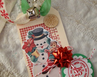 Retro Snowman gift tag Large vintage style Christmas do not open until Christmas tag mixed media paper art tag gift party favor tag