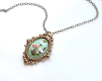Lil Queen Anne's Lace on mint- hand embroidered necklace, tiny, miniature, peach, white, floral, delicate