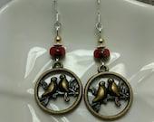 Gold Love Birds Earrings, Red Love Birds Gold Sterling Silver Earrings, Love Birds Sterling Silver Earrings, Love Birds Silver Earrings