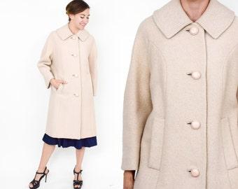 50s Creme Wool Coat | Tan Long Winter Coat | Large
