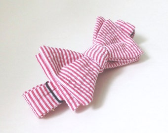 Red Bow tie, kids bow ties, Striped Bow Tie, Toddler Bow tie, seersucker ties, Red and White Tie, wedding ties, bow ties for boys, kids ties