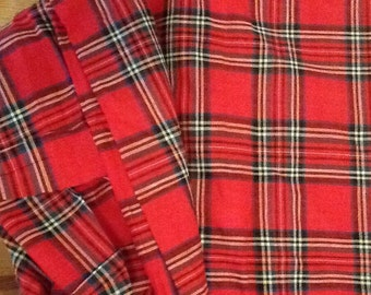Vintage Red Tartan Fabric Quilting Weight Cotton