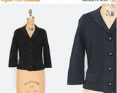 75% OFF 1950s sweater - vintage 50s black knit sweater - rhinestone buttons - Size Medium