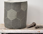 Storage Basket / Storage Bucket 'honeycomb' (C2) - hand printed eco fabric