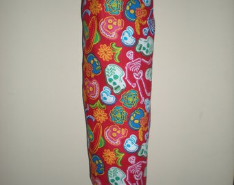 Australian handmade Plastic /Storage bag holder red skull skeleton design NEW cotton fabric great gift idea Halloween print