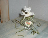 Vintage Glass Bottle Dresser Decor Sea Coral Soldered Heart Necklace Pottery Shard Beauty