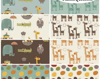 Giraffe Crossing 2 Flannel Fabric FQ Bundle Riley Blake - Contains 8 Fat Quarters
