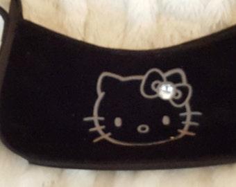 Sanrio Hello Kitty Black Velvet Handbag/ purse/ clutch with satin strap