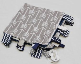 Baby Ribbon Tag Blanket - Minky Binky Blankie - Grey and White Arrows with Navy