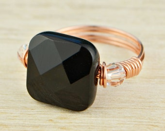 Square Black Onyx and Any Two Birthstones Ring-Rose or Yellow Gold Filled or Sterling Silver Wire Wrapped- Size 4,5,6,7,8,9,10,11,12,13,14