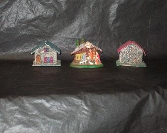 LOT Vintage Japan Christmas Cardboard Glitter Mica Houses