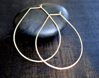 Teardrop Hoop Earrings - Gold