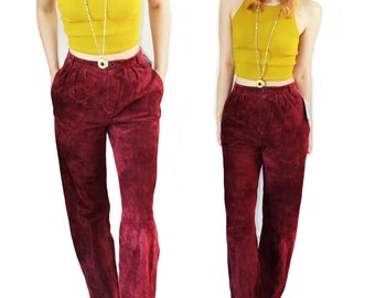 vintage burgundy suede trousers 26 90's high waist