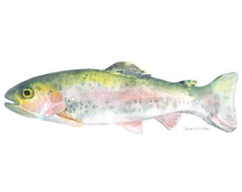 Rainbow Trout Watercolor Painting Giclee Print Reproduction- 7 x 5 - Fisherman - Fishing Fine Art