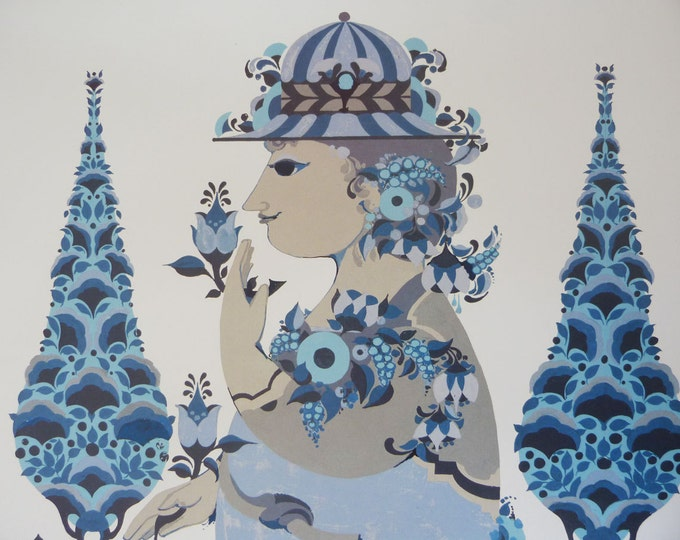 Bjorn Wiinblad Poster Blue Lady In the garden Vintage Danish modernist print